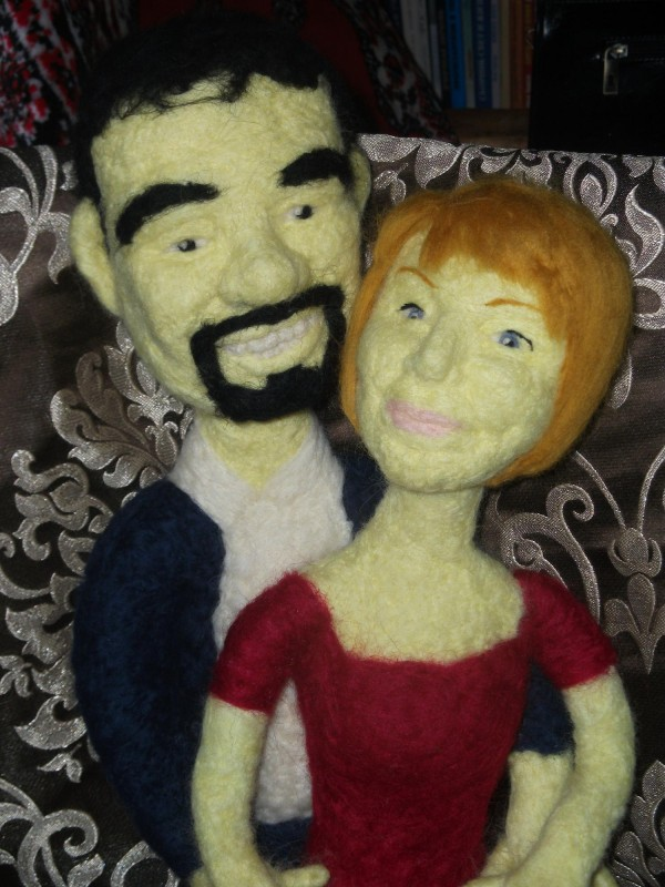 Портретные куклы из войлока (Семейная пара)