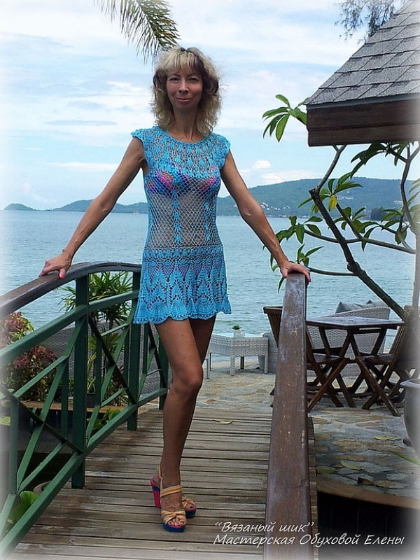 Пляжное платье Голубая лилия