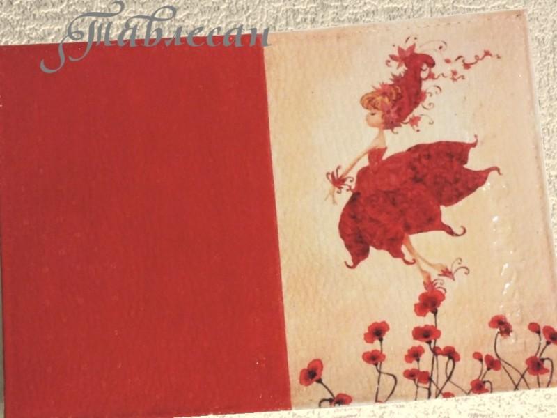 Обложка для паспорта Фея маков кожа декупаж для девочки