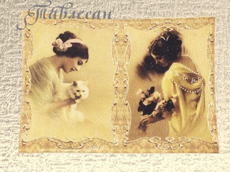 Обложка для паспорта Девушки из прошлого кожа декупаж