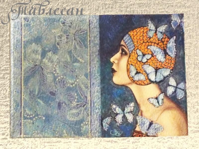 Обложка для паспорта Королева бабочек кожа для женщин