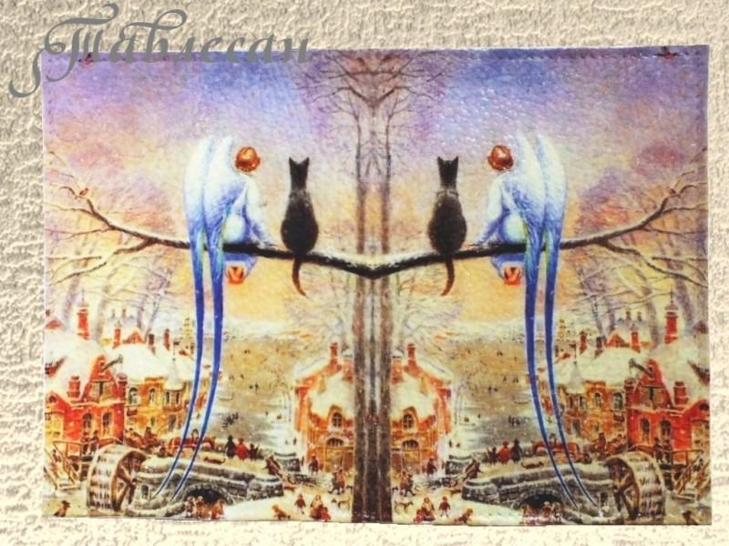 Обложка для паспорта Кот и ангел кожа декупаж