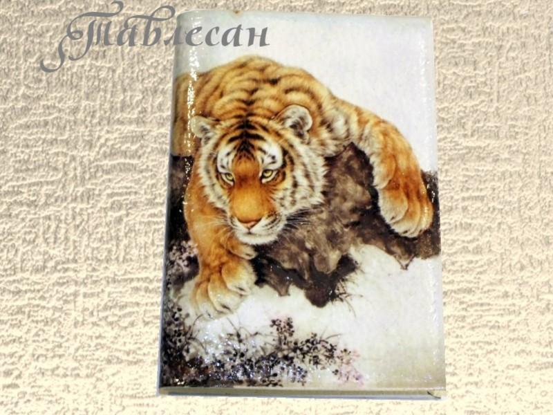 Обложка для паспорта Тигр кожа декупаж для мужчины