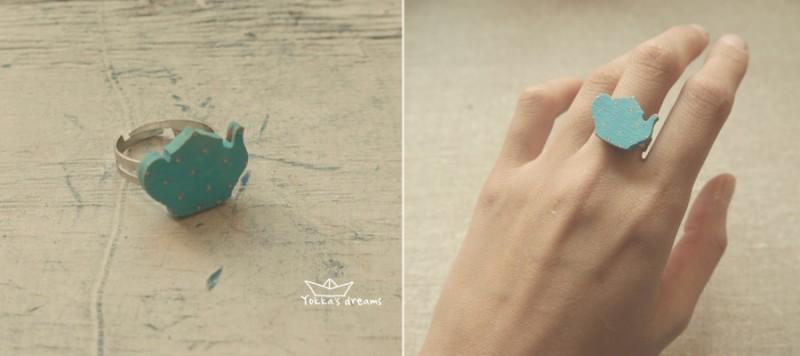 кольцо чайник (голубой)