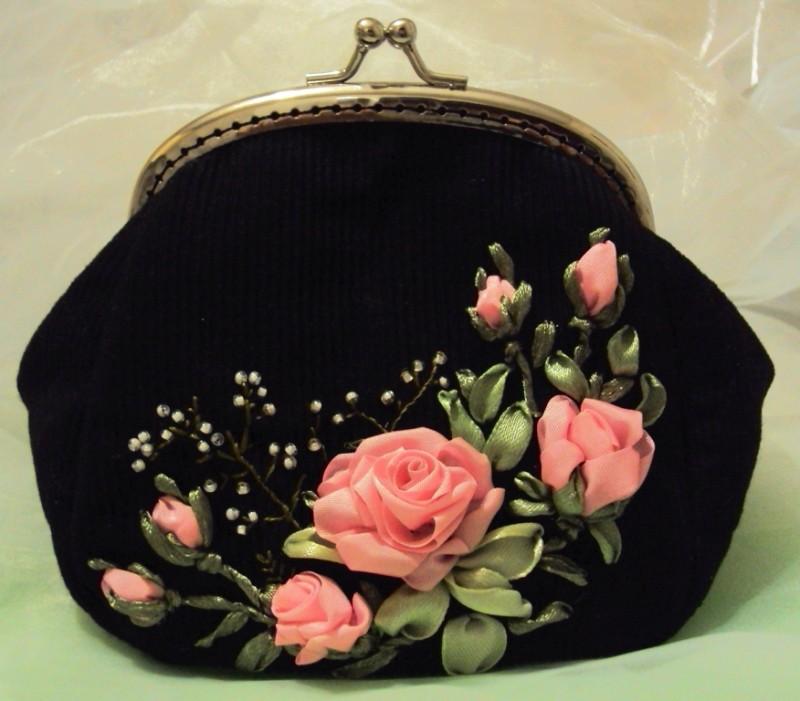 Сумочка-косметичка с фермуаром Розовые розы