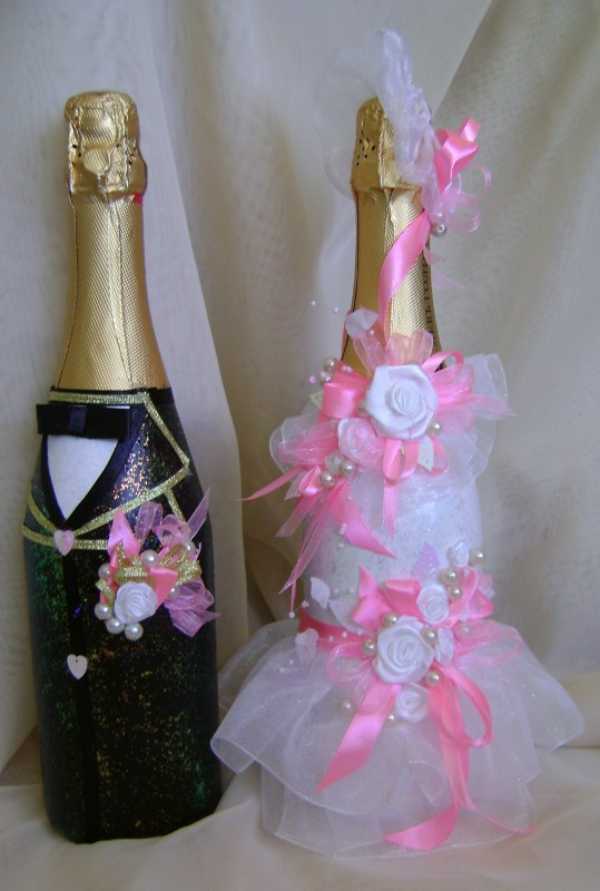 Оформление свадебных бутылок Жених и невеста