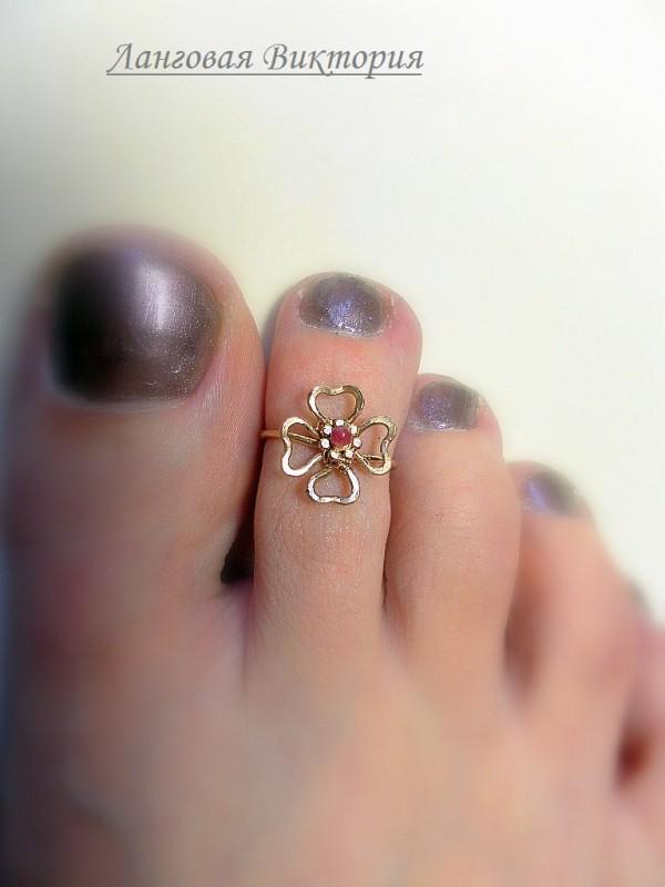 Колечко на палец ноги Клевер-турмалин.