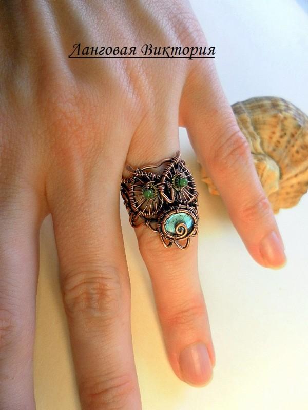 Перстень Сова-лабрадорит