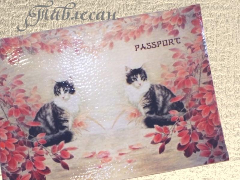 Обложка для паспорта Кошка в саду кожа декупаж для женщины