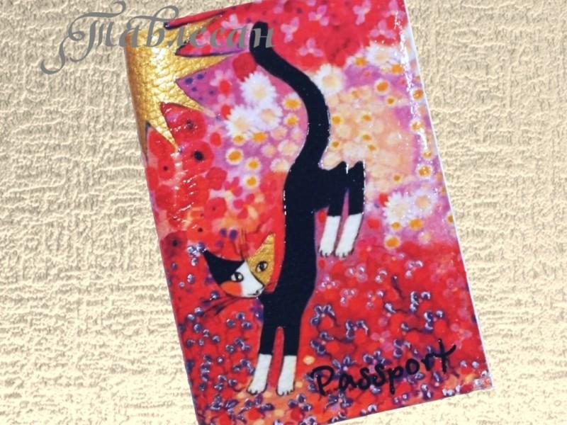 Обложка для паспорта Черная кошка кожа декупаж для женщины