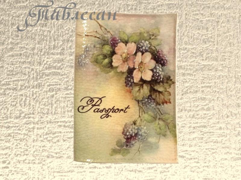 Обложка для паспорта Шиповник и ежевика кожа декупаж