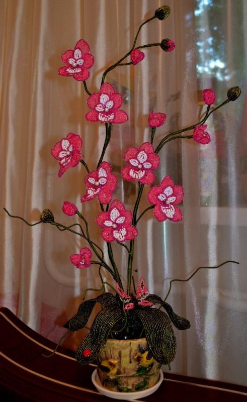 Розовая орхидея из бисера