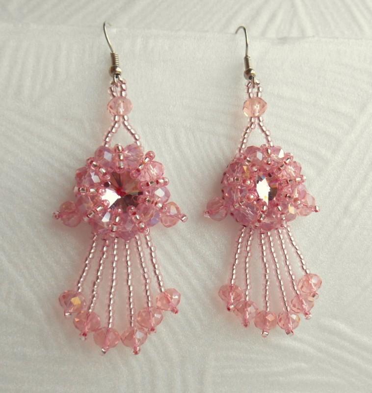 серьги  Прозрачный розовый