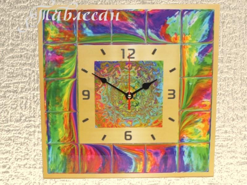 Часы настенные Всполохи большие квадратные в гостиную
