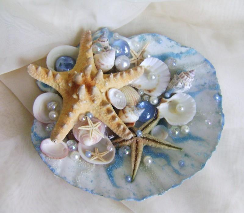 РАСПРОДАЖА!!!  Подставка для колец к свадьбе в морском стиле Морской бриз.
