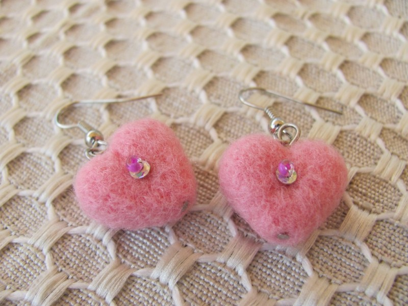 Серьги Розовое сердце
