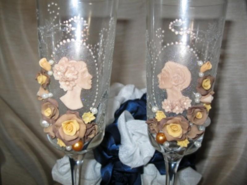 свадебные бокалы карамель ОБРАЗЕЦ