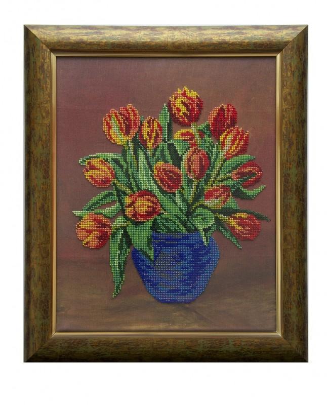 Картина вышитая бисером Тюльпаны ПРОДАНО