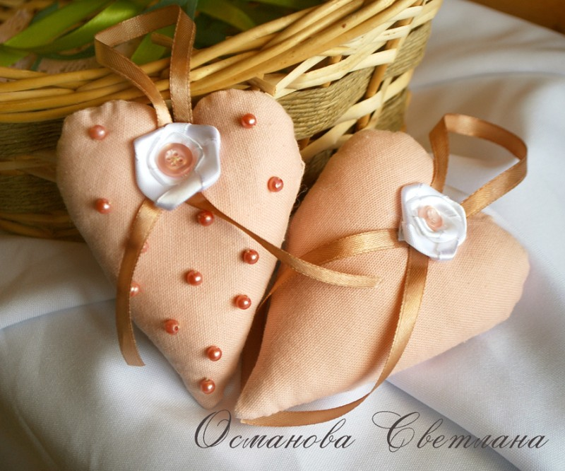 Розовые сердечки - саше из натурального льна