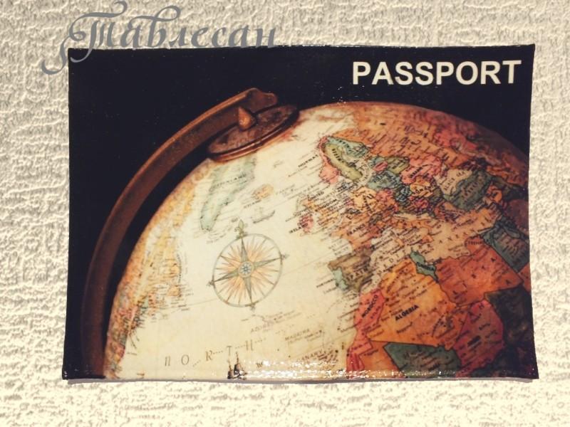 Обложка для паспорта История с географией кожа декупаж