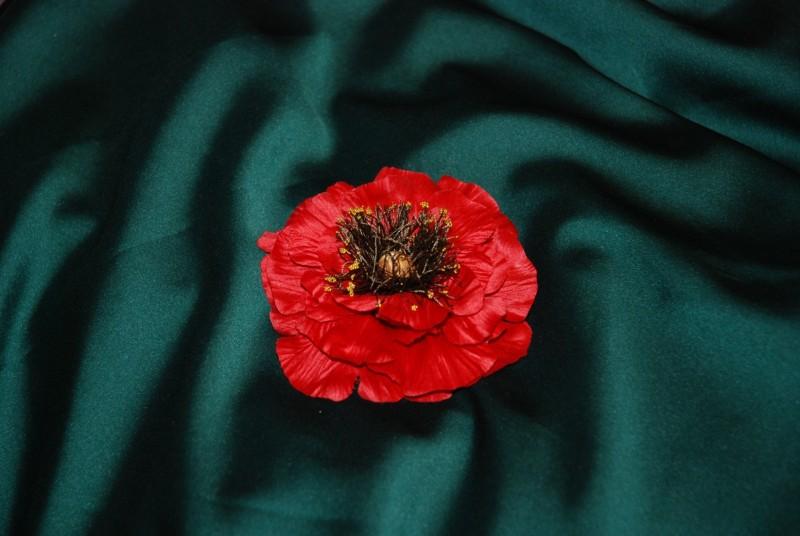 Мак. Цветок из ткани