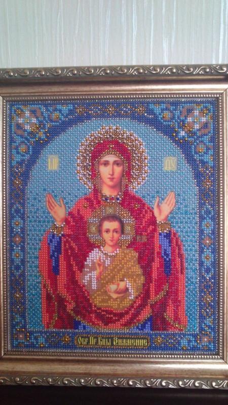 Богородица Знамение. вышивка бисером оформлена в багет и освящена в церкви