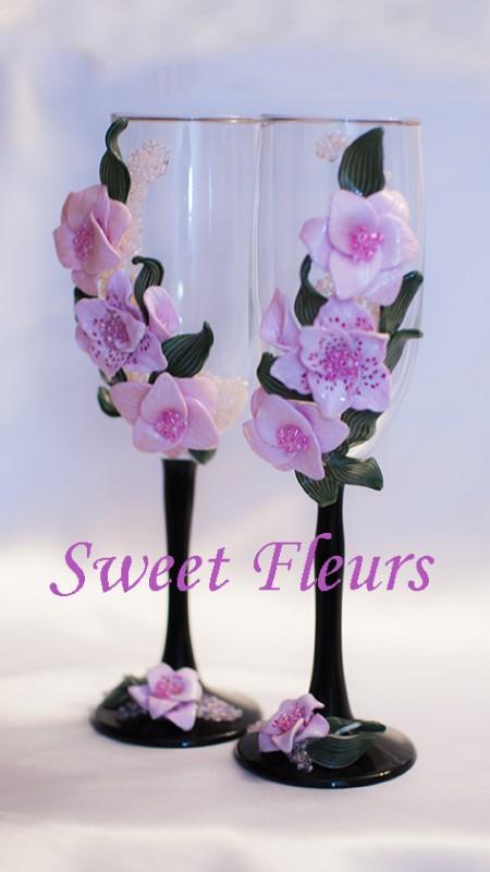 Свадебные бокалы Розовые лилии