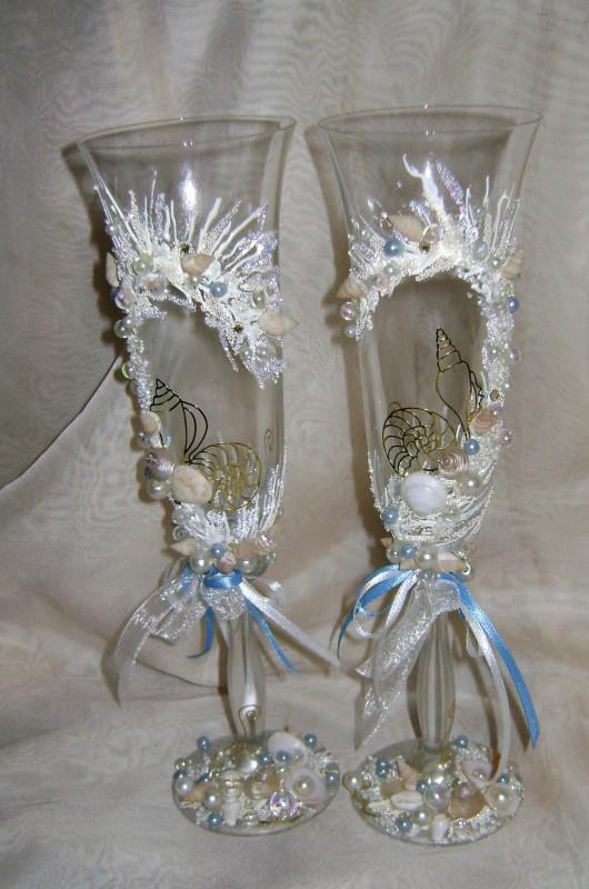 Свадебные фужеры Море любви для свадьбы в морском силе.