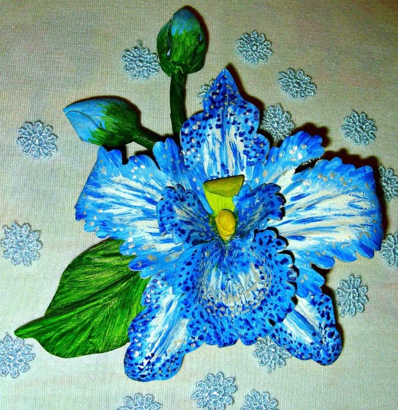 Брошь -орхидея Бирюзовый шарм