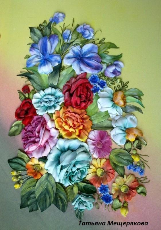 Роспись вышитая лентами Поднос Цветы (на заказ)