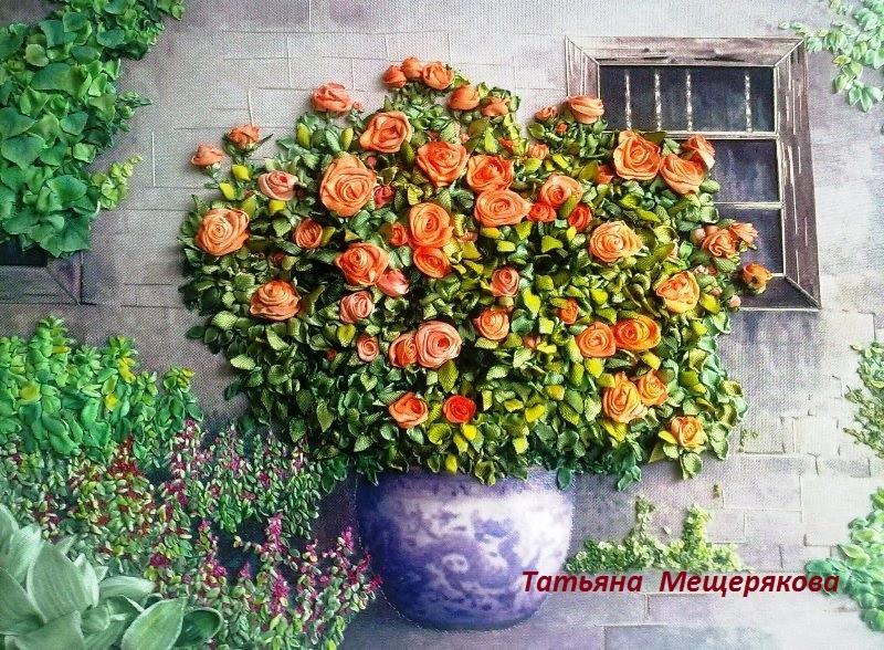 Розы в вазонеВышивка лентами.