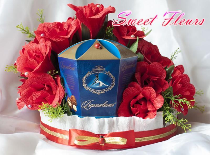 Оформление коробки конфет «Розы для Вдохновения»