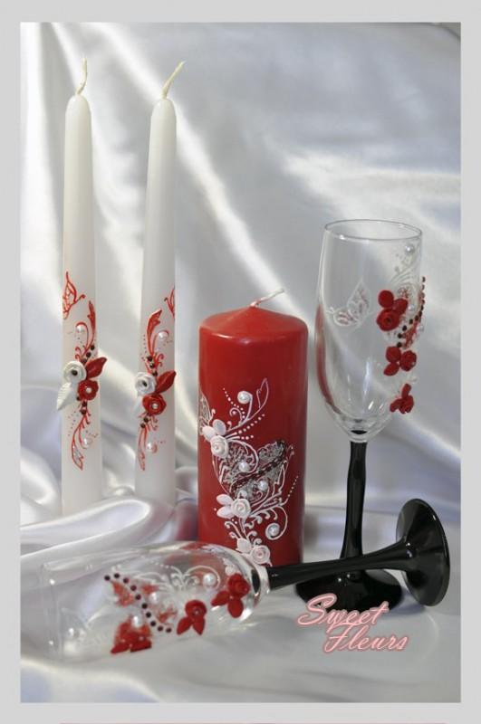 Свадебный набор «В красно-белых тонах»