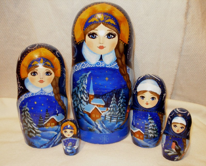 Матрешка-Снегурочка 5-местная. Ручная роспись