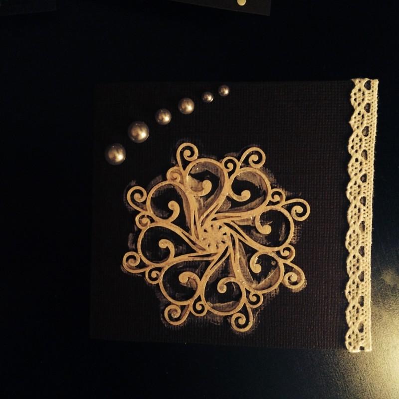 Новогодняя открытка ручной работы Темный шоколад