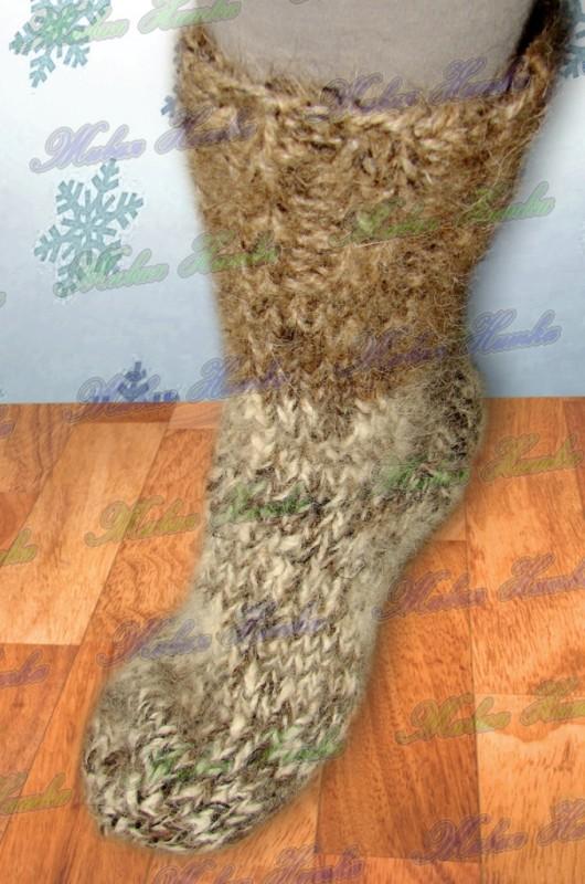 Носки  теплые вязанные арт. №24м из собачьей шерсти.