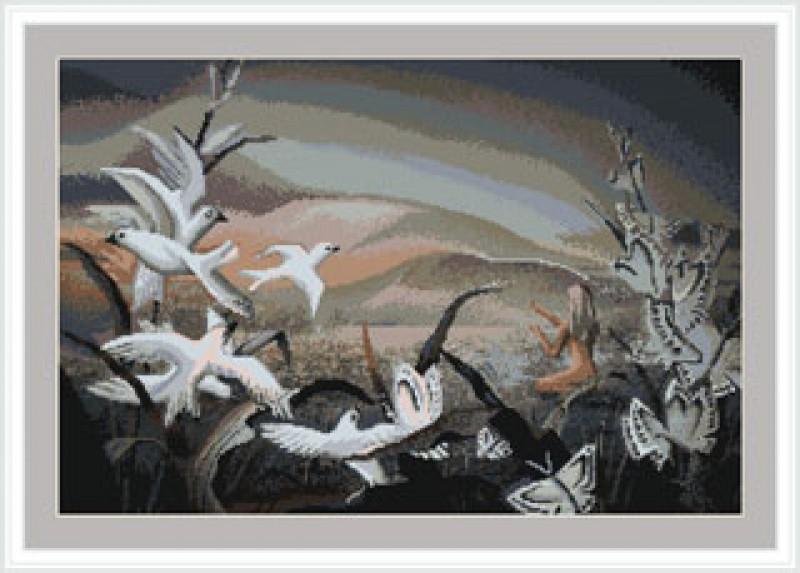 Вышитая картина (гобелен) Белые голуби
