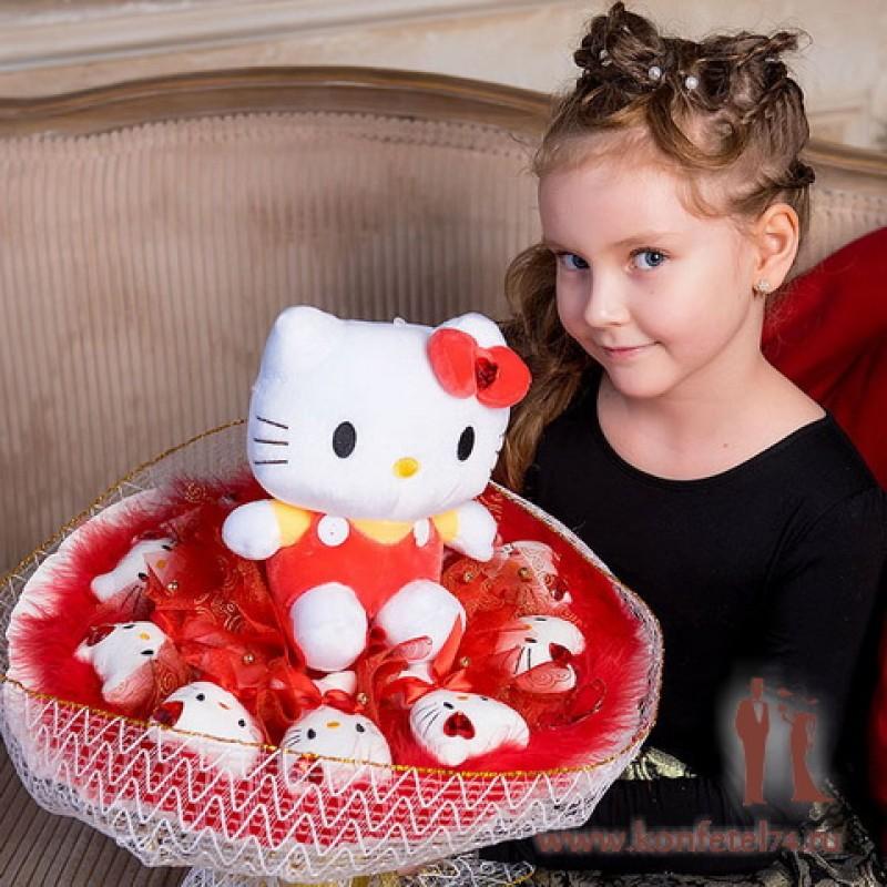 Букет из мягких игрушек котят Китти (большой красный)
