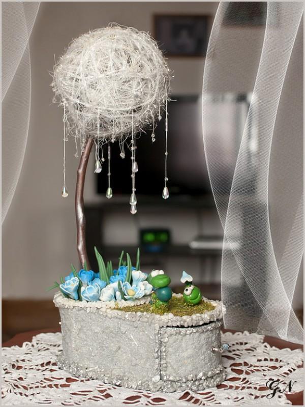 Топиарий-шкатулочка Весна идёт!Оригинальная интерьерная композиция - топиарий и шкатулка для мелочей.