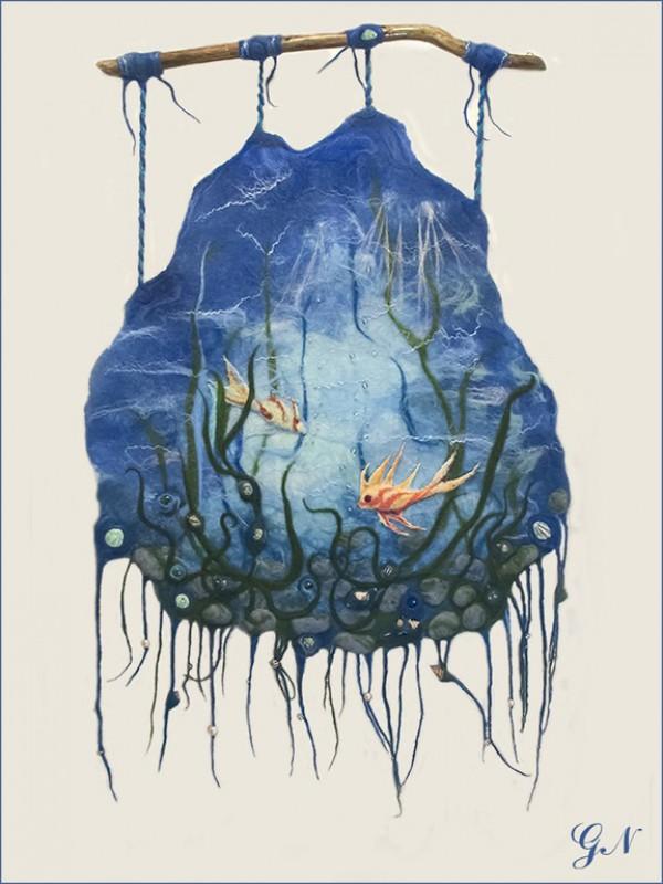 Шерстяное настенное панно Жизнь моря