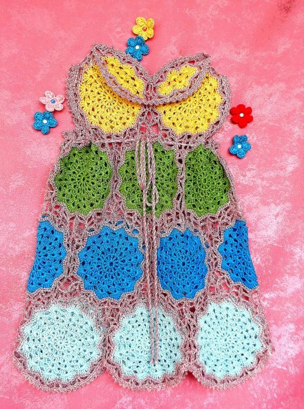 Платье вязаное летнее для девочки  Яркое лето №2