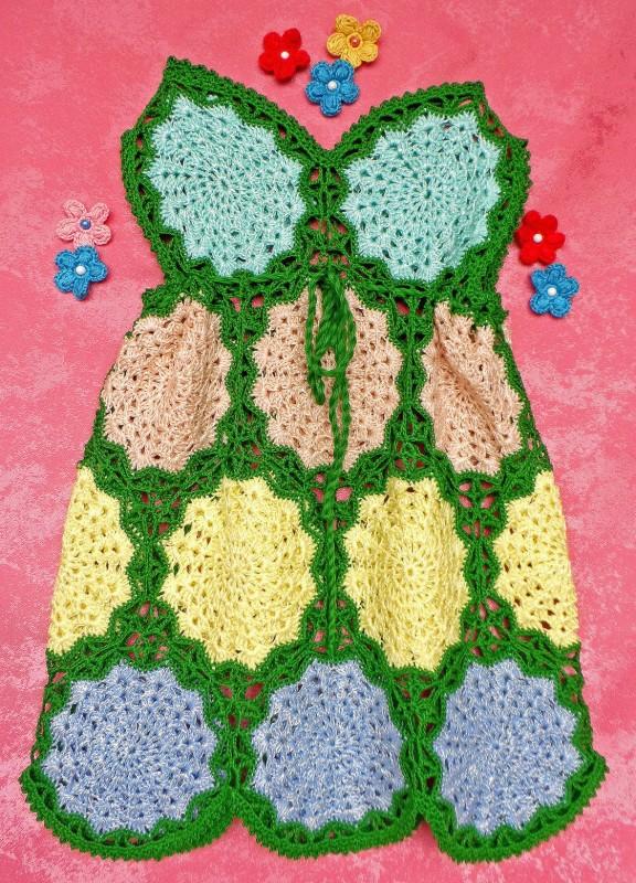 Платье вязаное летнее для девочки  Яркое лето №3