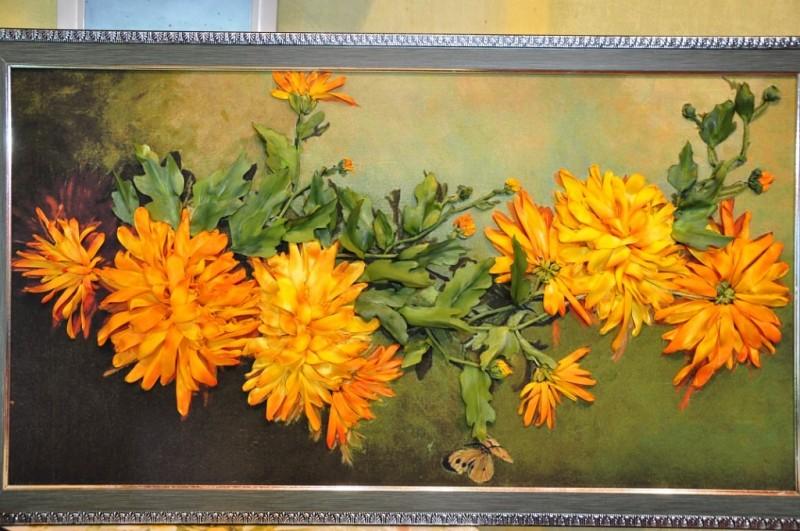 хризантема вышивка лентами. 35-50см