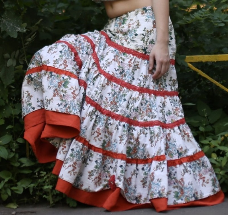Льняная юбка бохо Цветочное настроение +сумка проданы