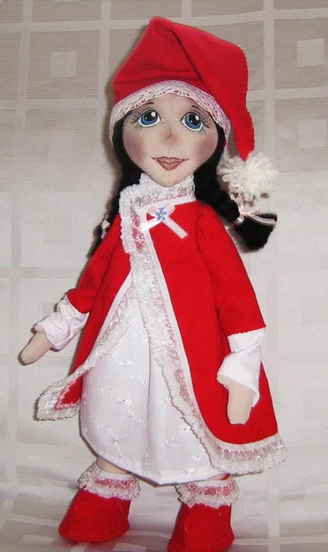 Текстильная кукла  Новогодняя девочка