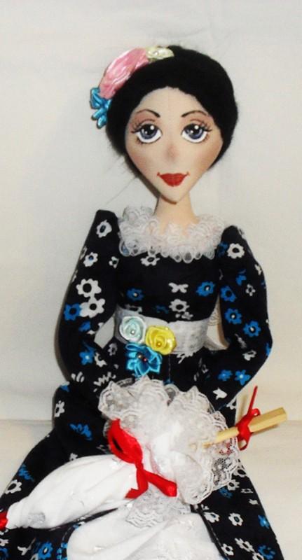Текстильная кукла Дама с зонтиком