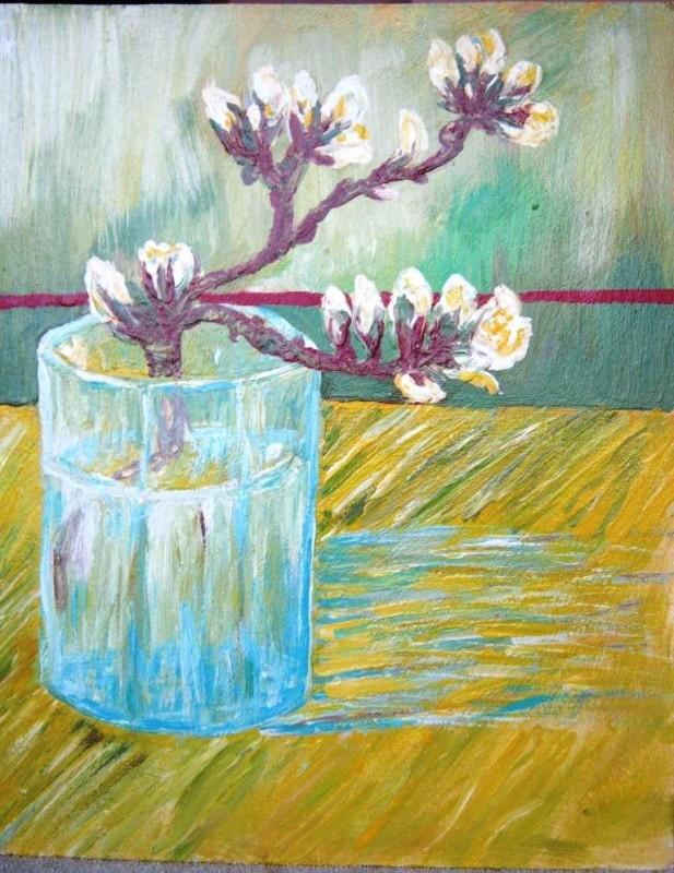 Цветущая ветка в стакане картина акрилом