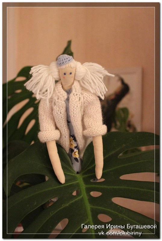 Кукла в стиле Тильда Романтичная в белом жакете, рост 40 см