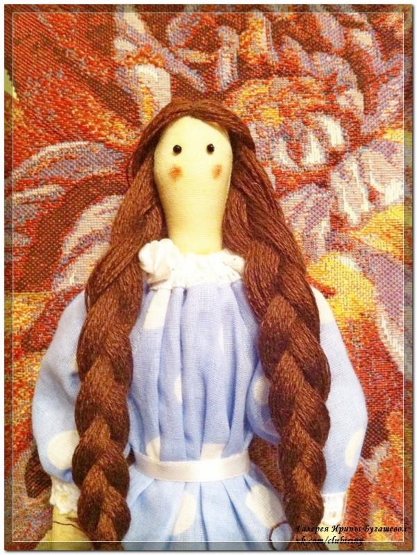Кукла в стиле Тильда, Девушка в голубом, рост  40 см.