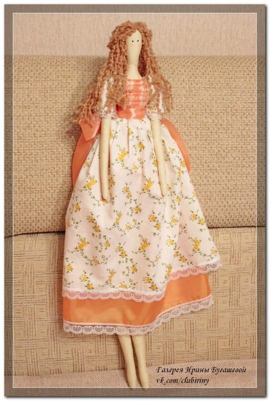 Кукла в стиле Тильда, Оранжевое лето, рост  72 см.